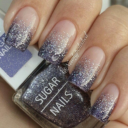Gradient nail art and silver glitter nail art designed in French Tips.  by Saiyuri_Govender | We Heart It (339555)