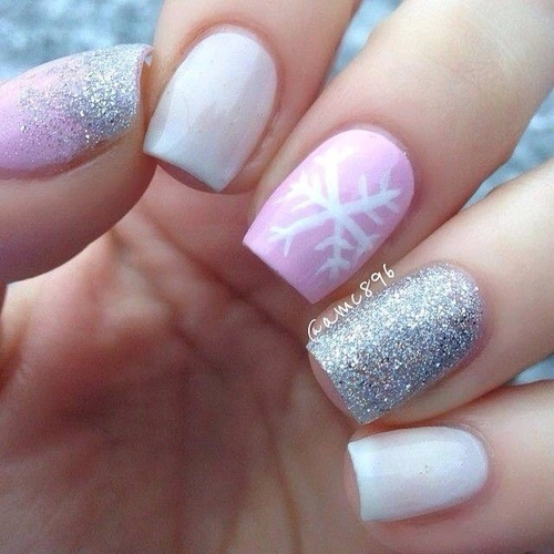 Beautiful nail art for winter in shades of pink, white and gray!  by Danissa_Valenzuela   We Heart It (339560)