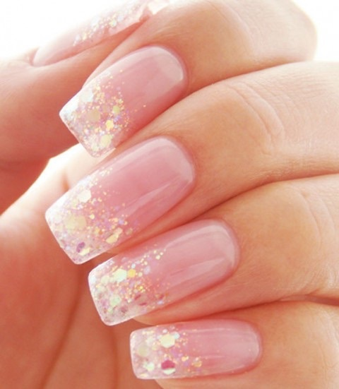 Glitter French gel manicure by may | We Heart It (339572)