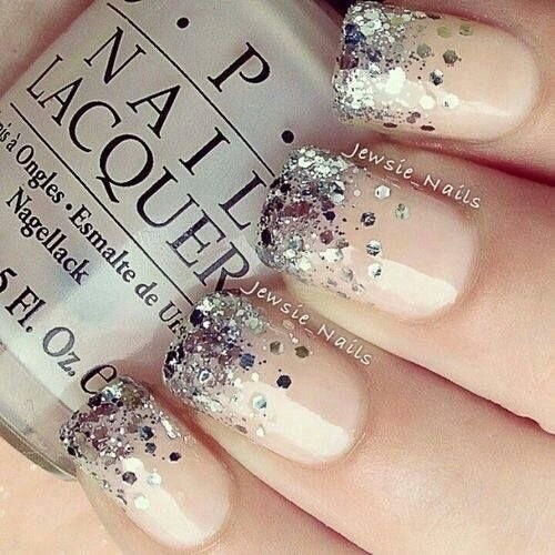 Nude nails w/silver glitter tips...love it! by Laura | We Heart It (339573)