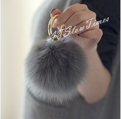 Real Fur Ball Bag charms Keychain Pom Pom Fluffy by ATSlowTimes (346067)