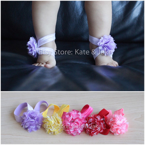 FAST US SHIPPING new baby girl barefoot ankle foot flower wrap shoes sandals cute! by Katie | We Heart It (375798)