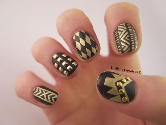 Black and Gold Matte nails | 10 Blank Canvases (384714)