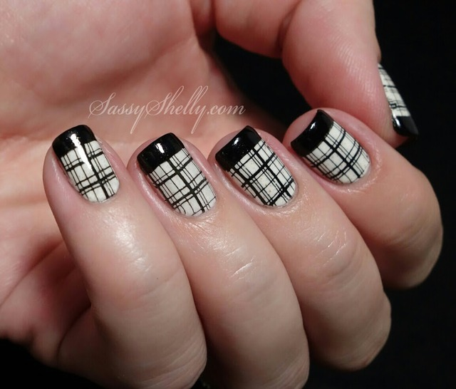 Digit-al Dozen DOES Black & White ~ Day 3: French Tips & Plaid! | Sassy Shelly (390458)