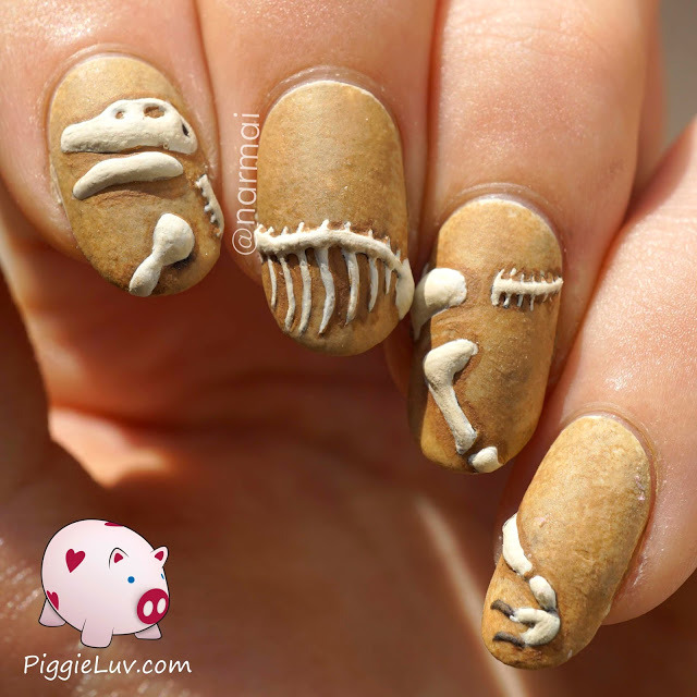 PiggieLuv: 3D dinosaur excavation nail art (394345)