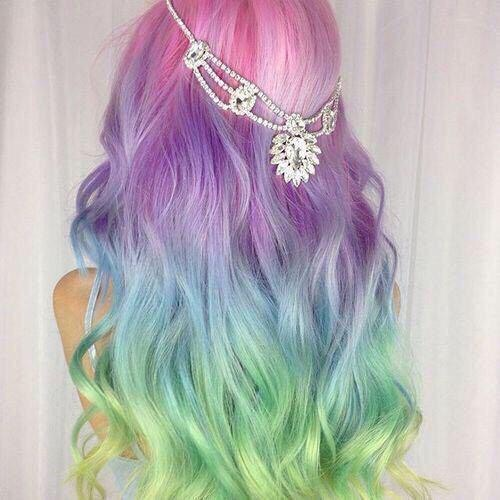Girl, Hair, blue,pink,green,purple by suze | We Heart It (416504)