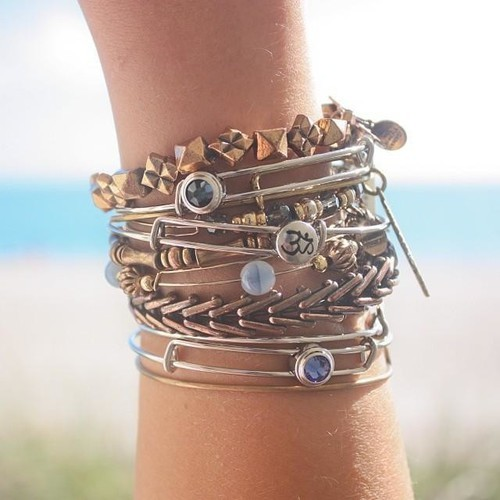 Om Sacred Studs Bangle | Alex and Ani by Alex and Ani | We Heart It (430807)