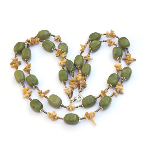 Chunky Olive Green Double Strand Necklace, Natural Stone Statement Jewelry, Canadian Jade Coral, OOAK Handmade Unique, ALFAdesigns by Anna | We Heart It (450336)