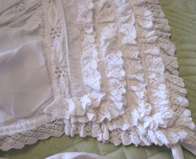 Victorian Broderie Anglais Deep Ruffled Ayrshire Whitework Bonnet Close Up Right Side | Flickr - Photo Sharing! (451407)