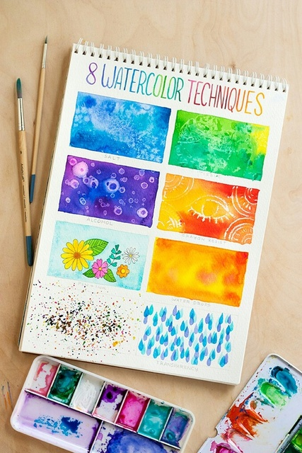 Different watercolor tehniques that will help you. by Nicoleta Taranenco | We Heart It (463023)