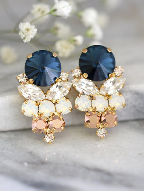 Blue Navy Earrings Navy Blue Swarovski Earrings Bridal by iloniti by ilonarubin | We Heart It (465859)