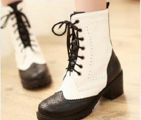 Oxford Matte Bicolor Lace Up Boots on Luulla by Rose  Yang | We Heart It (467151)