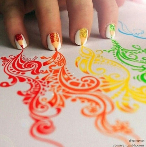 Adorable nails!!!! ❤️💚💛💅 by Merrell Twins | We Heart It (482964)