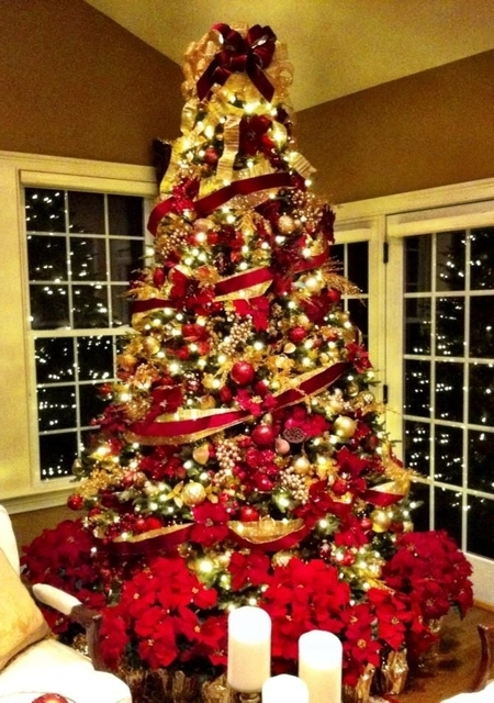 Brilliant   Christmas Trees Decorated In Red And Gold   Christmas Moment (516913)