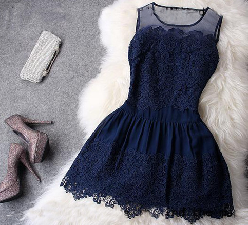 Blue hollow out hook skirt / retro style dress | We Heart It | dress, fashion, and blue (517550)