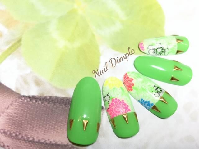 ネオングリーンのボタニカル
