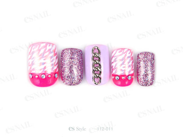 ピンクのMIXラメとピンクのミラーでピンク系の質感MI...