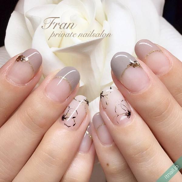グレージュと桜アート