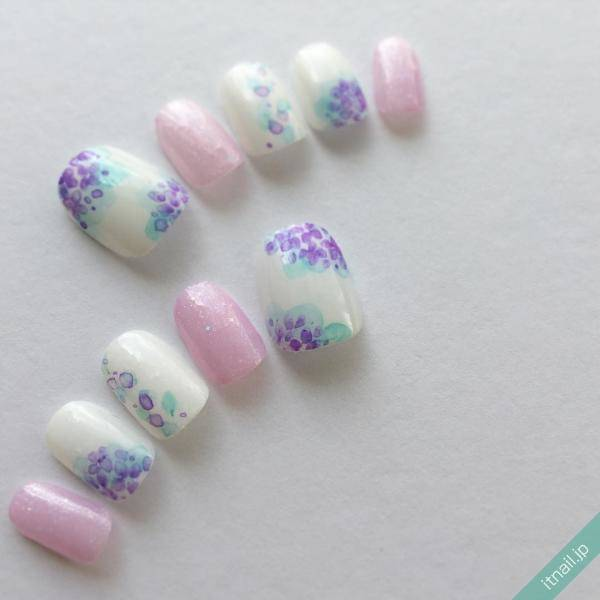 水彩画×紫陽花ネイル