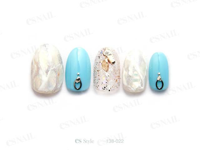 ホワイトオパールをイメージした天然石柄にくすみブルーを...
