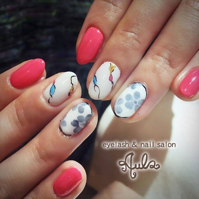 明るめピンクがピュアな雰囲気に・・♡色々な柄が混ざった...