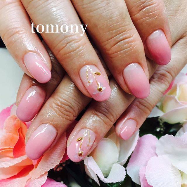 ピンクのグラデーションにシェルフラワーが可憐に咲いてい...