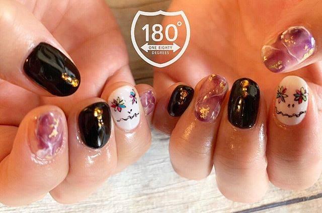 "180°degrees nail and eyelash on Instagram: ""👻👻🍇.hello!! halloween!季節感をnailに🧡"" (589818)"
