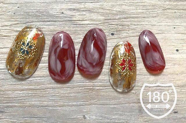 "180°degrees nail and eyelash on Instagram: ""🎃🎃🎃 . halloween を意識した秋nail💅🏻👻 ニュアンスマーブルでオシャレに! . . . #ハロウィンネイル #halloween #🎃 . . . #180degrees #180degreesnaileye #nail # #nailart…"" (589827)"